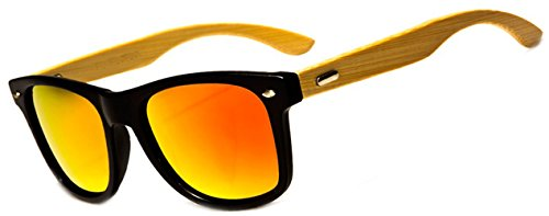 Men Women Retro POLARIZED Bamboo Wood Arms Classic Squares Sunglasses 1 Temples Made from Real Bamboo Wood. Cleaning Drawstring Bag Included. Mirrored Lenses
