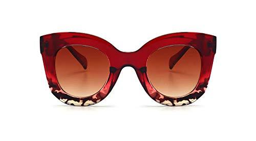Butterfly Sunglasses Semi Cat Eye Glasses Plastic Frame Clear Gradient Lenses (Red Tortoise, ()