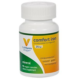 The Vitamin Shoppe Comfort Iron 25MG, Clinically Studied Iron Bisglycinate, Energy Production Immune Support, Gentle NonConstipating Supplement (90 Veggie Capsules)