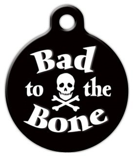 Bad To The Bone Pet Name – Custom Pet ID Tag for Dogs and Cats – Dog Tag Art – LARGE SIZE, My Pet Supplies