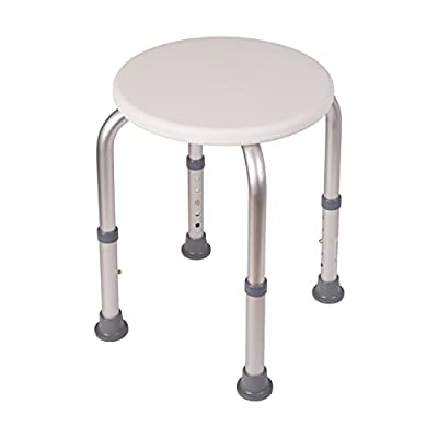 HealthSmart Extra Compact Lightweight Shower Stool with Adjustable Height, Excellent for Small Showers and Bathtubs, RVs and Boats, White