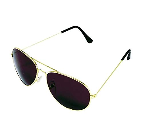 Rhode Island Novelty Dark Aviator Sunglasses | Gold Frame with Black Lens | One Pair -