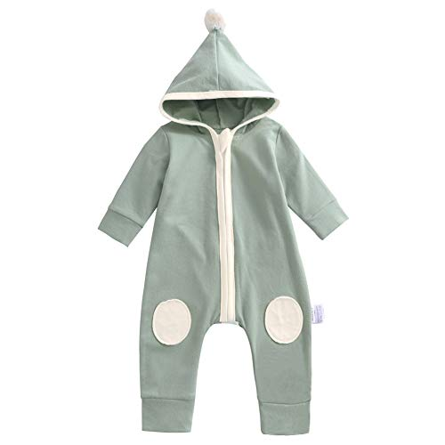 Y·J Back home Infant Romper Clothes Baby Organic Cotton Union Suit One Piece Outfit Toddler Long Sleeve Jumpsuit with Hood Newborn Birthday Clothing for Spring and Fall,6-12 Months,Olive Green