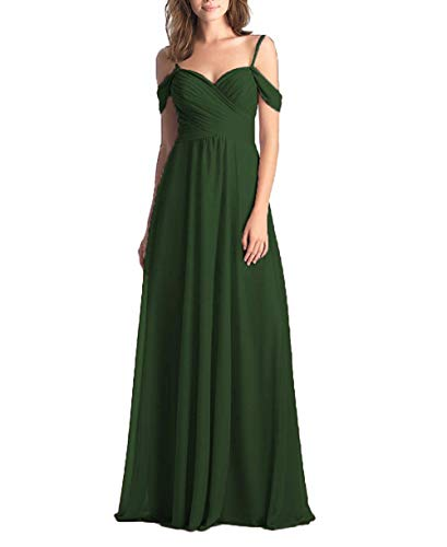 - Forest Green Wedding Bridesmaid Dress for Women Long Off The Shoulder Pleated Chiffon Formal Dress for Women for Women