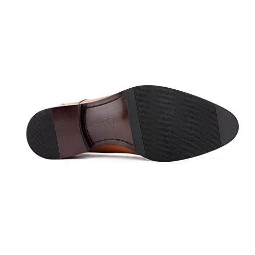 Scarpe Da Uomo In Pelle Casual Dress Smoking Business Wedding Moda Slip On Marrone-nero Marrone