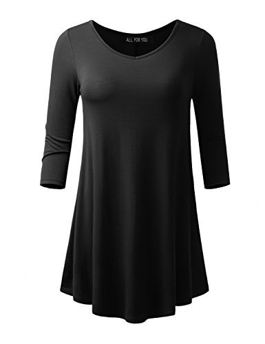 ALL FOR YOU Women's 3/4 Sleeve V-neck Flare Hem Tunic Black X-Large