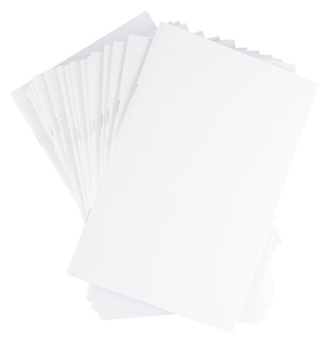 Blank Notebook - 24-Pack Unlined Books, Unruled Plain Travel Journals for Students, School, Children's Writing Books, Creative Class Project, White, 5.5 x 8.5 Inches, Half Letter Sized, 24 Sheets Each by Paper Junkie