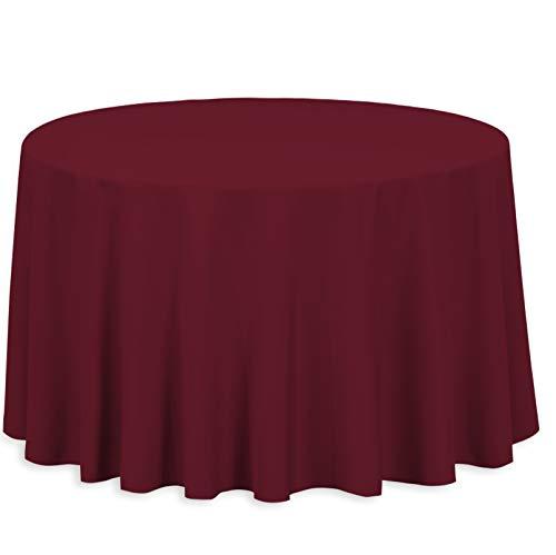 Burgundy Elegance Round Tablecloth - LinenTablecloth 108-Inch Round Polyester Tablecloth Burgundy