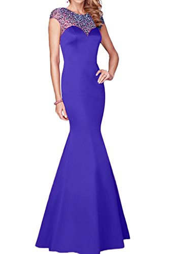 Indigo Satin Bridesmaid Dress (Avril Dress Gorgeous Mermaid Rhinestone Prom Evening Dress Long Cap Shoulder)