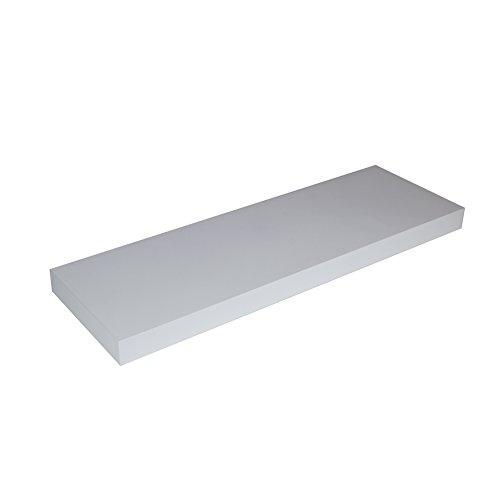 LOYOKI Floating Shelf, Wall Mounted Storage Shelves, Retro Display Shelf Bookcase 23.6 inch - Gloss Standard White Cd