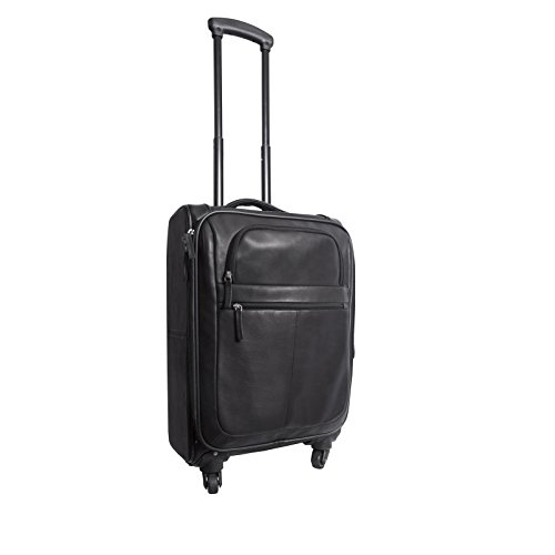 Canyon Outback Leather Goods Inc. Romeo Canyon 22-inch Spinner Carry-on Leather Suitcase, Black