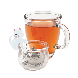 Joie Meow Loose Leaf Tea Cup 18/8 Stainless Infuser & Drip Bowl