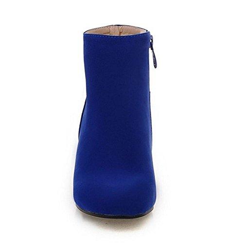 Con Donna TAOFFEN Stivali A Zip Blocco Blue Tacco HwfqqBR