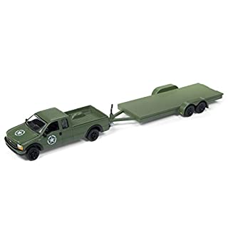 "2004 Ford F-250 Army Green with Car Trailer Limited Edition to 4540 pieces Worldwide ""Truck and Trailer"" Series 1 1/64 Diecast Model Car by Johnny Lightning JLBT006 A"