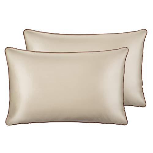 Sable Silk Pillowcase, 2 Pack Natural Mulberry Silk Pillowcases for Hair and Skin, Soft Breathable Smooth 19 Momme One-Sided Silk Pillow Cover, Gold, Queen Size