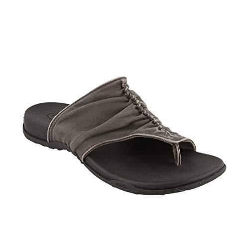 Taos Footwear Women's Leisure Graphite Vintage Canvas Sandal 9 M US