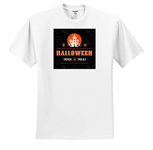3dRose Doreen Erhardt Halloween Collection - Spooky Haunted House Halloween Typography in Orange and Black - T-Shirts - Toddler T-Shirt (3T) (ts_294962_16) -