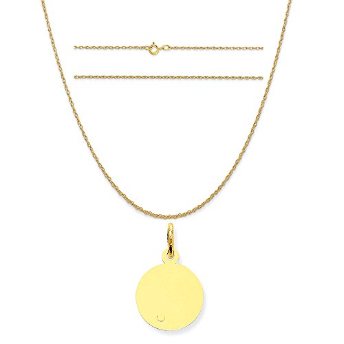 14k Yellow Gold Round Disc Charm on a 14K Yellow Gold Carded Rope Chain Necklace, - C 13 Yellow Round