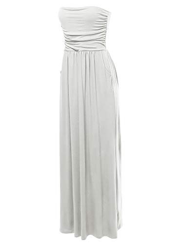 Solid Viscose Tube Top Double Layer Side Pockets Maxi Dress Ivory XL ()