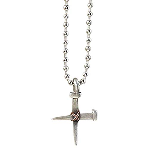 Dicksons Rugged Cross of Two Nails with Copper-Tone Wire Brushed Pewter 24-Inch Pendant Necklace