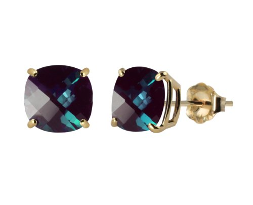 10k Yellow Gold 8mm Checkerboard Cushion Lab Created Alexandrite 4-Prong Stud Earrings