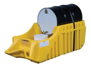 Justrite® 66 Gallon Yellow EcoPolyBlend Polyethylene Portable Outdoor Drum Caddy With Rubber Wheels (For Spill Containment)