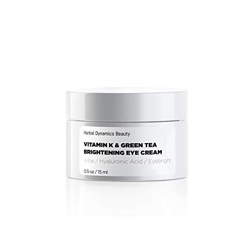HD Beauty Vitamin K & Green Tea Brightening Eye Cream for Undereye Circles, Puffiness and Fine Lines with Hyaluronic Acid and Organic Aloe Vera, 0.5 oz.