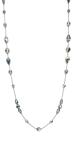 Long Necklace for Women Handcrafted Silver Tone Czech Glass Crystal Bead (Beaded Silver Necklace)