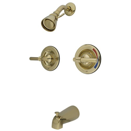 Kingston Brass KB662ML Twin Handles Tub Shower Faucet with Milano lever handle, Polished Brass