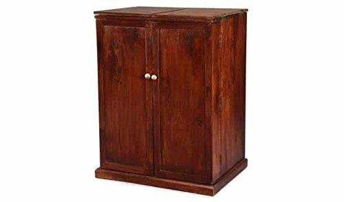 Aprodz Mango Wood Wine Storage Telfer Stylish Bar Cabinet for Living Room | Honey Finish