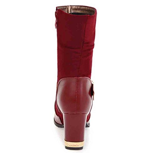 Easemax Womens Graceful Buckled Belt Round Toe Zipper High Block Heel Mid Calf Boots Wine Red ez7FVIElnZ
