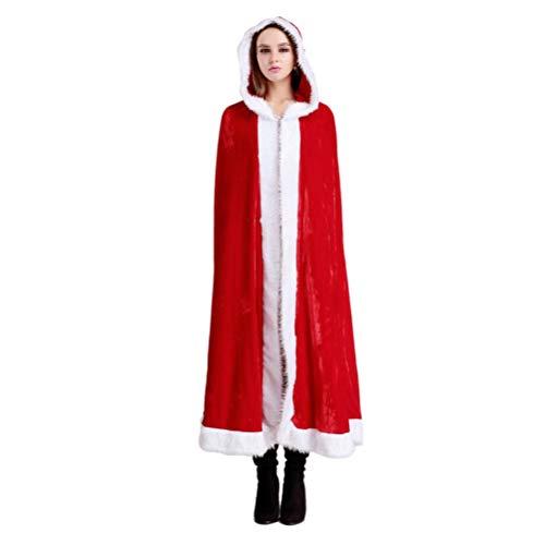 Amosfun Christmas Cape Xmas Cloak Mrs.Santa Claus Hooded Robe Cloak Cosplay Costume for Halloween Christmas - Christmas Birthday Gift for Women - Party Size - L]()