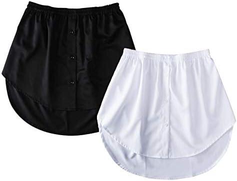 Women Ladies Fake False Shirt Tail Blouse Hem Skirt Elegant Underskirt Sweatshirt Detachable Mini A-line Half Skirt (Black+White, L)