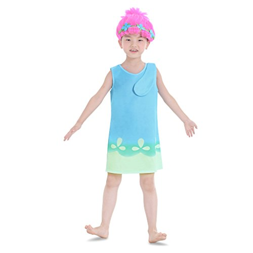 CosplayDiy Girl's Dress for Princess Trolls Cosplay Blue Dress Age 2+ (3T)