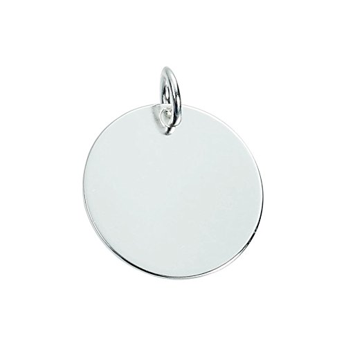Silver Plated Solid Brass Round Disc Stamping Blanks Charms w Ring-  50pcs- 12mm (Silver)