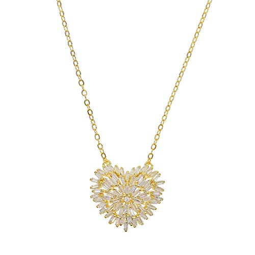 (2019 Gold Silver Color Baguette Firework Cz Necklace Heart Charm Lovely Gorgeous Charm Jewelry 41+5cm Extend )