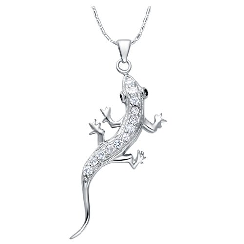 YLR 18K White Gold Plated Jewelry Gecko Chain Zircon Animal Pendant Necklace