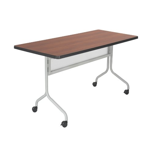 Safco Products 2072CYSL Impromptu Rectangle Mobile Training Table, 72''W x 24''D, Cherry Top/Silver Base by Safco Products
