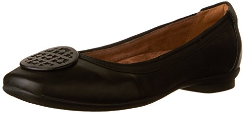 CLARKS Women's Candra Blush Flat, Black Leather, 10 M US