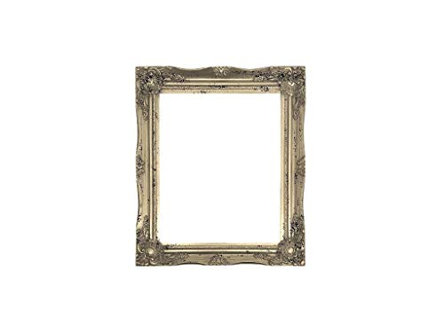ImpactInt Ornate Baroque Distressed Silver Painted Wooden Picture Frame (11x14 Inch)(Easel Back) ()