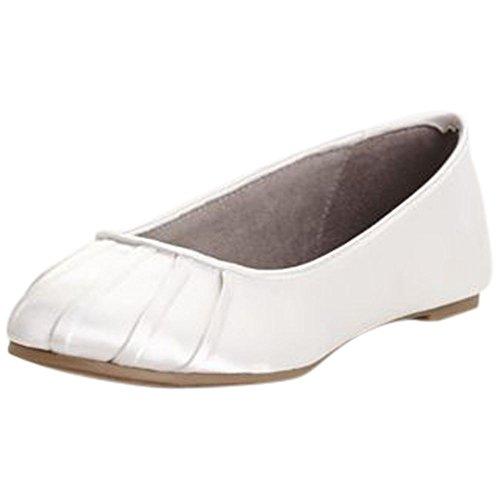 Dyeable Satin Pleated Toe Ballet Flat Style BALLETWHITE, White, (Pleated Satin Flat)