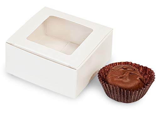 White Window Candy Truffle Boxes 2-5/8x2-3/4x1-1/4