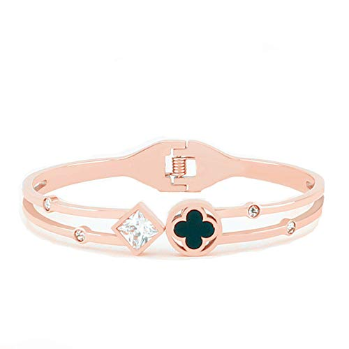 Hxidob Four-Leaf Clover Bracelet Diamond Square Diamond Fashion Titanium Steel Stainless Steel Jewelry Confession Gift Clothing Decorations
