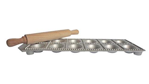Eppicotispai 12-Hole Aluminum Round Ravioli Maker with Rolling Pin (Round Ravioli)