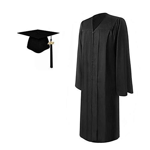 2019 Matte Adult Graduation Gown Cap Tassel Set (Black, ()