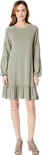 Mod-O-Doc Women's Cotton Modal Spandex Jersey Shirred Balloon Sleeve Dress with Ruffle Hem Dusty Sage Medium