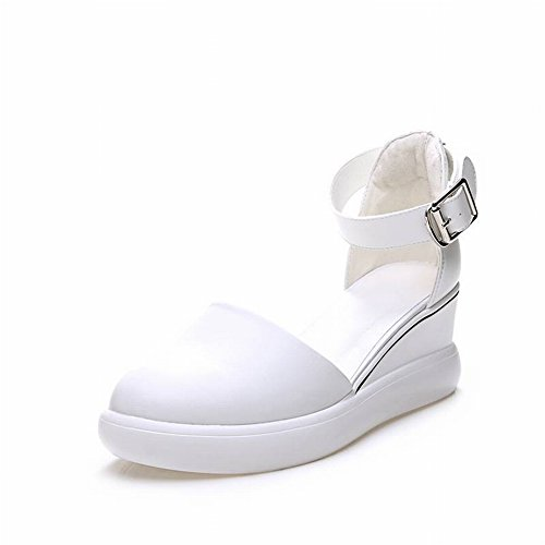 Zapatos Casuales con Blanco Rojo Femeninas Zapatos Aumento Neto 39 de Blanco Transpirables Sandalias TYERY Baotou Pendiente tOwASqg