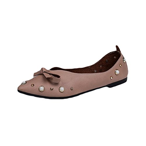 Jitong Bowknot Slip on Loafers for Women Rivet Pointed-Toe Flat Moccasins Boat Shoes for Driving Light Brown FihilBVBjJ