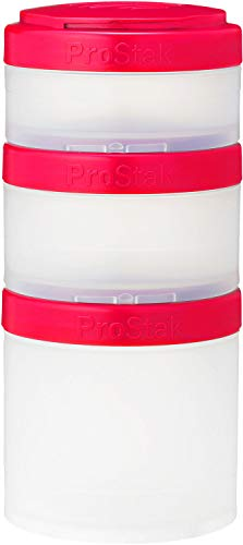 BlenderBottle ProStak Twist n' Lock Storage Jars Expansion 3-Pak with Pill Tray, Clear/Pink