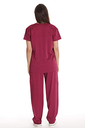 Just Love Solid Stretch Scrub Set for Women Stretchy Mock Wrap Top and Cargo Pants